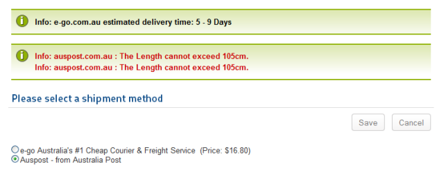 auspost shipping virtuemart 2 invalid