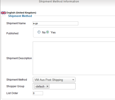 e-go shipping_virtuemart-2-setup