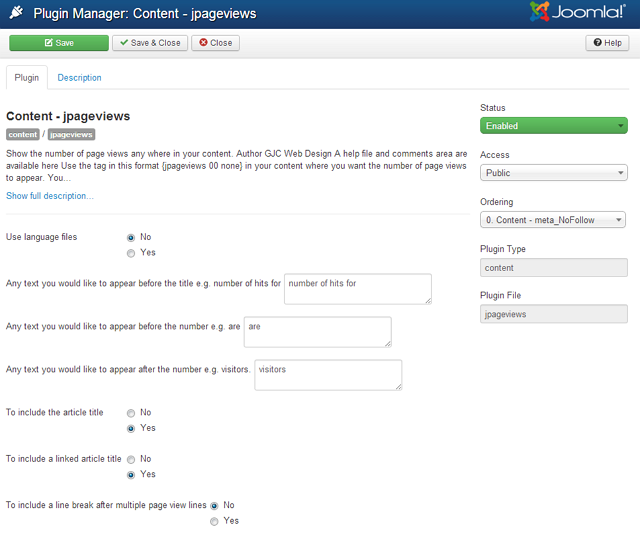 joomla 3.x page views plugin admin