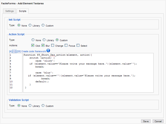Breezing Forms / FacileForms textarea click delete