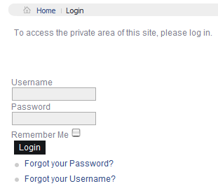joomla login link menu