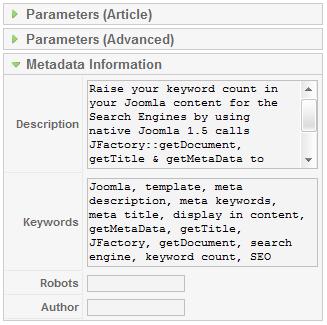 Joomla show metatags in content