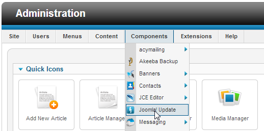joomla update quick icons menu