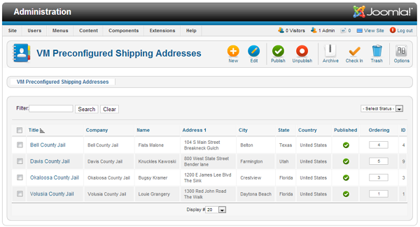 virtuemart pre-configured addresses admin overview