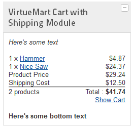 vm2.0 cart with shipping 2 products product list