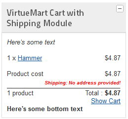 vm2.0 cart with shipping no address